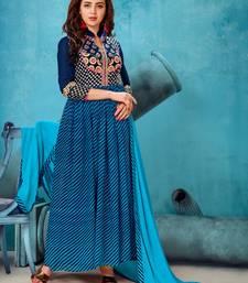Buy Blue work georgette salwar with dupatta semi-stitched-salwar-suit online
