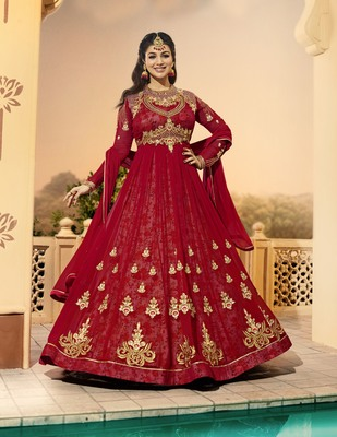 Red work georgette salwar with dupatta
