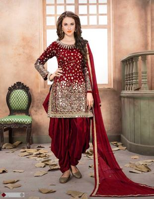 Maroon embroidered taffeta salwar