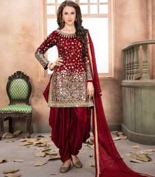 Buy Maroon embroidered taffeta salwar indian-dress online