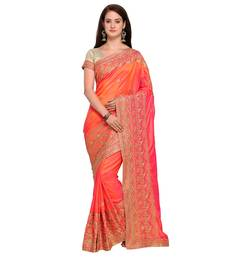 Buy Red embroidered silk saree with blouse party-wear-saree online