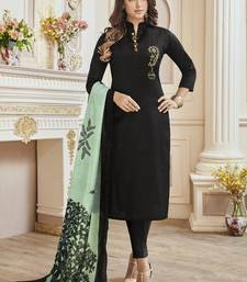 Black beads cotton stitched salwar with dupatta