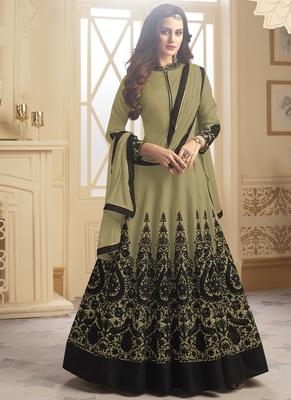 Mehendi embroidered taffeta stitched Anarkali Suit