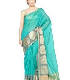 Green embroidered cotton silk banarasi saree with blouse cotton-silk-saree