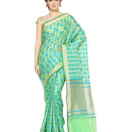 Buy Green embroidered cotton silk banarasi saree with blouse banarasi-saree online