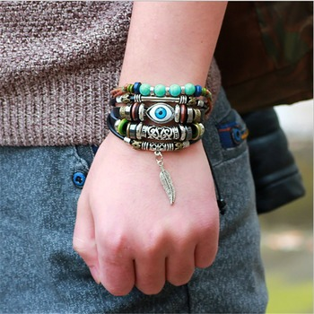 Punk Turkish Evil Eye Multi Strand Turquoise Leather Bracelet For Boys Men