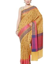 Gold embroidered cotton silk banarasi saree with blouse