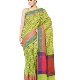 Green embroidered cotton silk banarasi saree with blouse