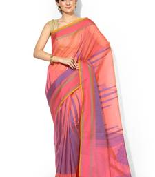 Buy Pink embroidered cotton silk banarasi saree with blouse cotton-silk-saree online