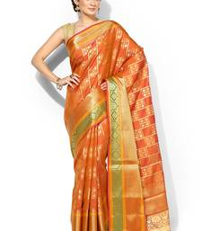 Buy Gold embroidered cotton silk banarasi saree with blouse banarasi-saree online