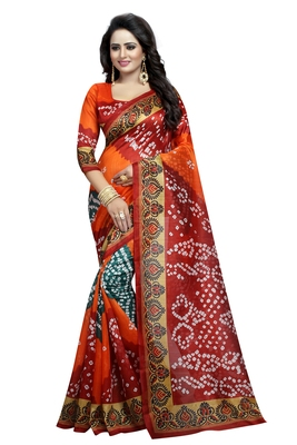 Bandhani printed bhagalpuri silk saree with blouse