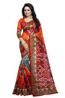 08b4afbd772 Bandhani printed bhagalpuri silk saree with blouse