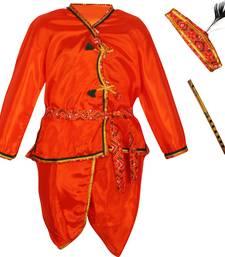 Orange polyester plain boys dhoti kurta