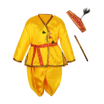 Yellow Polyester Plain Boys Dhoti Kurta