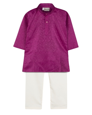 Purple Jacquard Plain Boys Kurta Pyjama