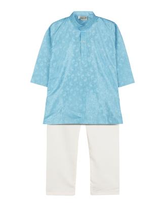 Sky Blue Jacquard Plain Boys Kurta Pyjama