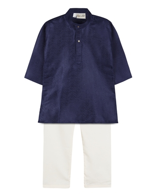 Navy Blue Jacquard Plain Boys Kurta Pyjama