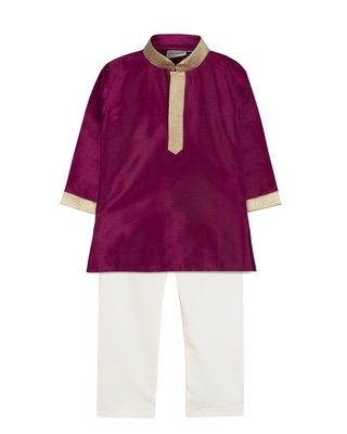 Purple silk blend plain boys kurta pyjama