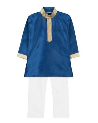 Blue silk blend plain boys kurta pyjama