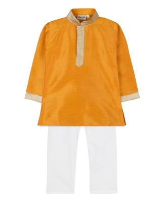 Yellow Silk Blend Plain Boys Kurta Pyjama