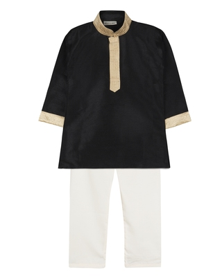 Black silk blend plain boys kurta pyjama