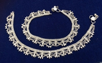 Silver Plated Chain Payal Anklets Pair Sp16