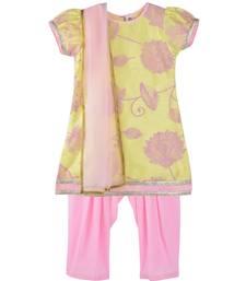 Buy Yellow and pink floral print salwar kurta dupatta set women-ethnic-wear online
