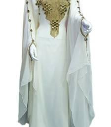 White georgette zari stone work islamic style farasha