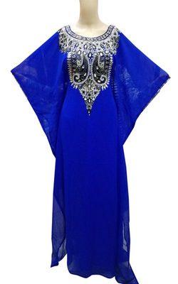 Royal blue georgette zari stone work islamic style farasha