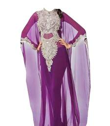 Purple georgette zari stone work islamic style farasha