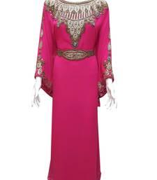 Pink georgette zari stone work islamic style farasha