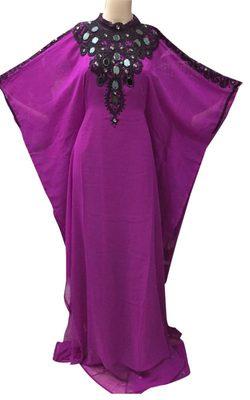 Purple georgette zari stone work islamic style farasha