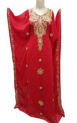 Red georgette zari stone work islamic style farasha