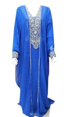 Blue georgette zari stone work islamic style farasha