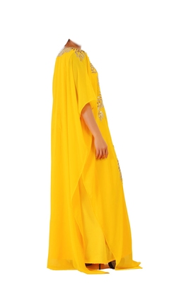 Yellow georgette zari stone work islamic style farasha