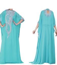 Turquoise georgette zari stone work islamic style farasha