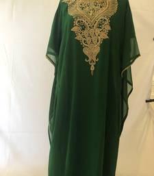 Green georgette zari stone work islamic style farasha