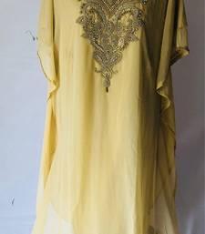 Yellow georgette zari stone work islamic style farasha