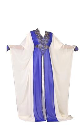 White and blue georgette zari stone work islamic style farasha