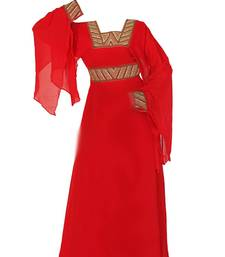 Red georgette zari stone work islamic style farasha