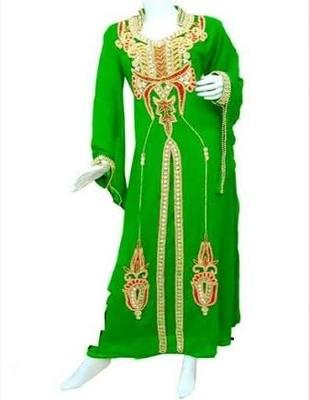 Green georgette zari stone work islamic style kaftan
