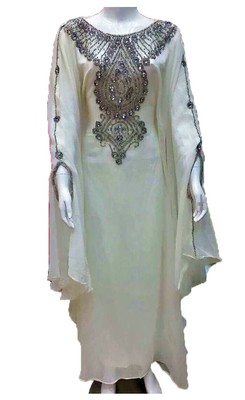 White georgette zari and stone work islamic farasha