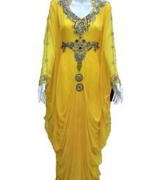 Yellow georgette zari and stone work islamic farasha