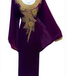 Violet georgette zari and stone work islamic farasha