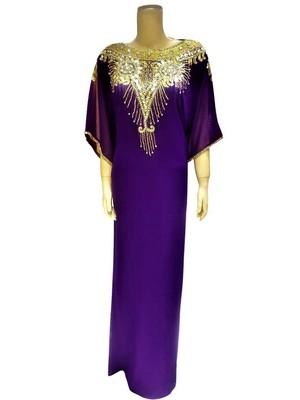 Purple georgette zari and stone work islamic farasha