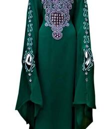 Green georgette zari and stone work islamic farasha