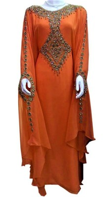 Orange georgette zari and stone work islamic farasha
