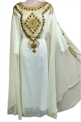 White georgette zari and stone work islamic farasha