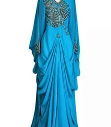 Turquoise georgette zari and stone work islamic farasha