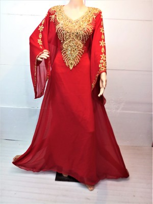 Red georgette zari and stone work islamic farasha